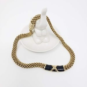 Vintage Black Enamel Magnetic Clasp Necklace